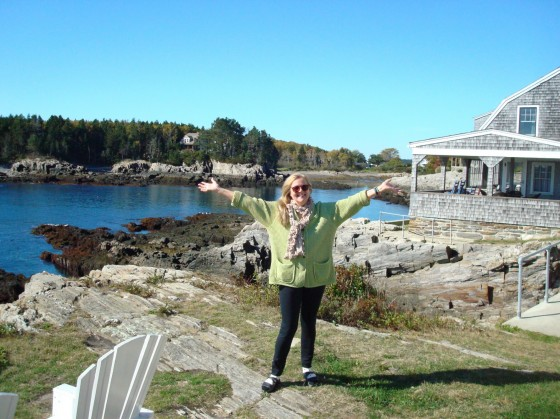 Columbus Day(Canadian Thanksgiving) on Bailey Island, Maine. The sun is shining on the pretty little cove and the lone lobsterman checking his traps from his motor boat. We are very happy here. Check out Laachuk's Tales to read how we finally got here.
